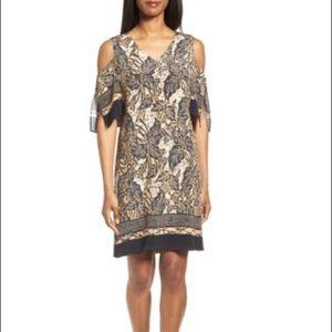 EUC Kobi Halperin Natalia silk cold shoulder dress